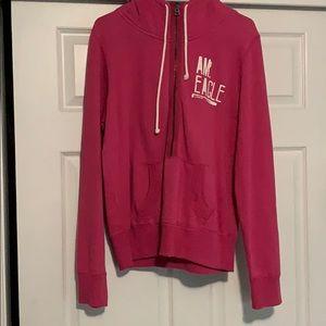 American Eagle 1/4 zip Pink Pullover Hoodie